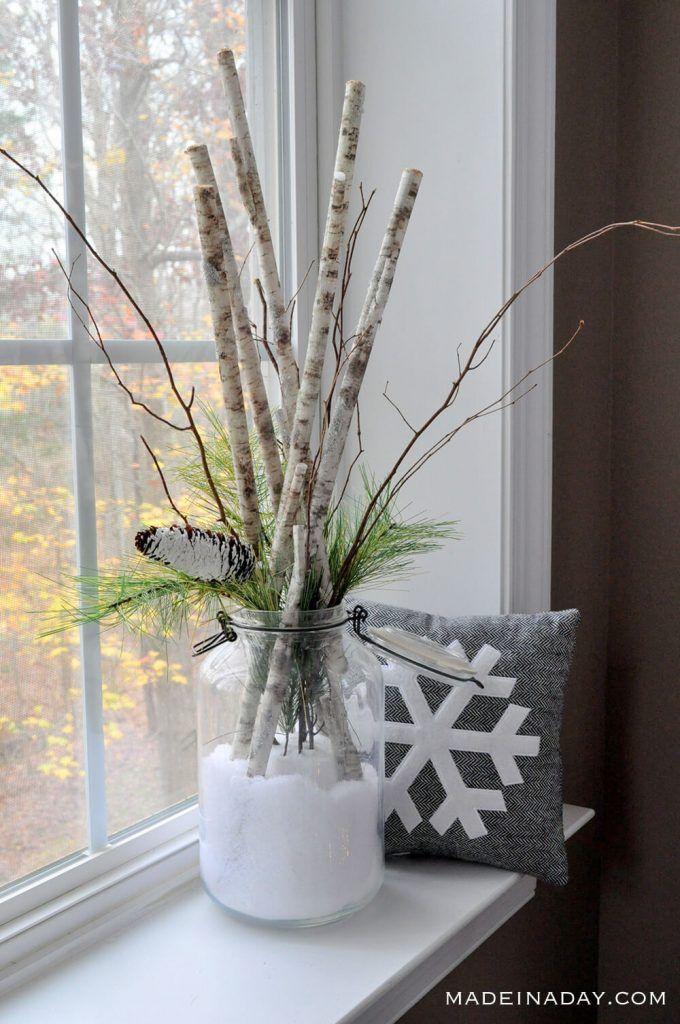 Unexpected Birch Sticks In Snow Arrangement Rustic Winter