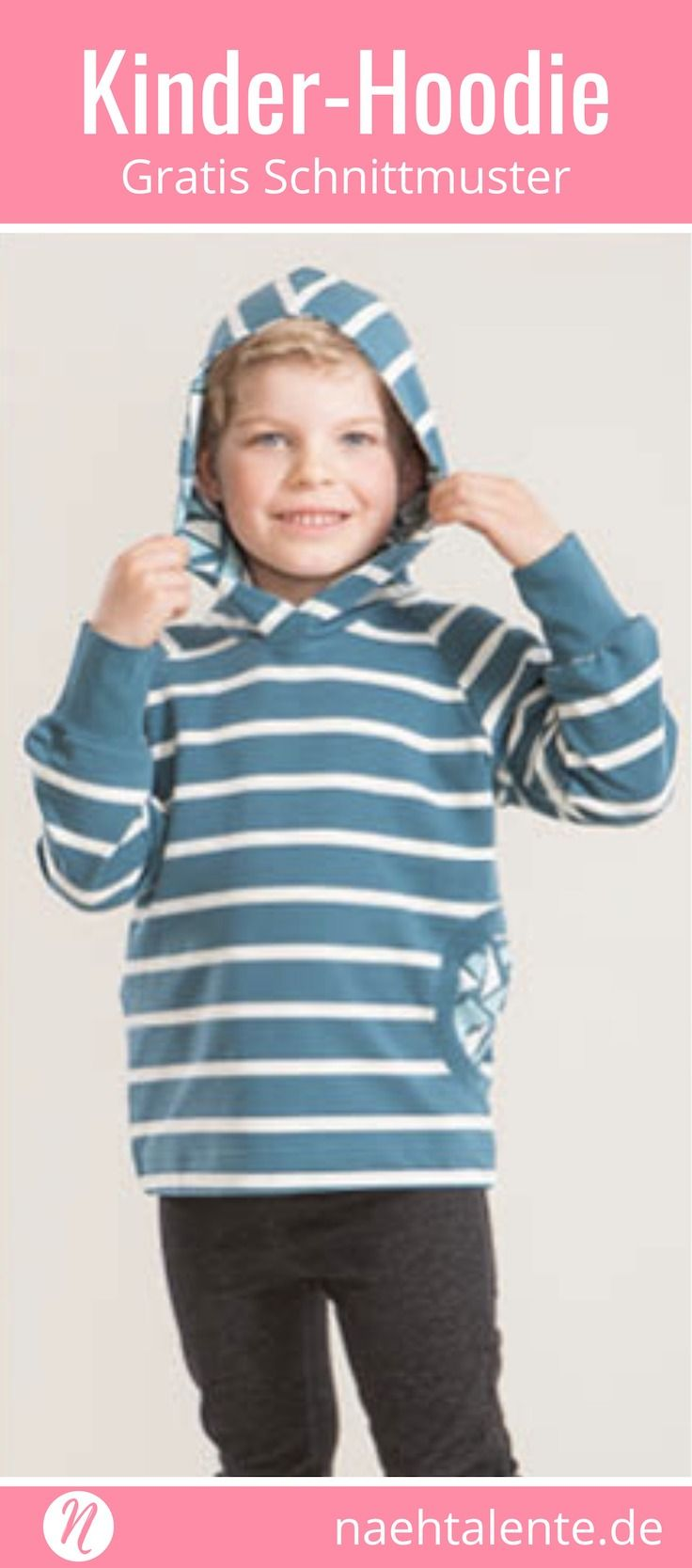 Kinder Hoodie mit Kapuze - Freebook. Grösse 86/92 – 134/140. PDF-Schnitt zum Ausdrucken. Kinderkleidung selber nähen ✂️ Nähtalente - Das Magazin für Hobbyschneider/innen mit Schnittmuster-Datenbank ✂️ Free sewing pattern for a childrens  hoodie ✂️ Nähtalente - Magazin for sewing and free sewing pattern ✂️ #nähen #freebook #schnittmuster #gratis #nähenmachtglücklich #freesewingpattern #handmade #diy via @Naehtalente