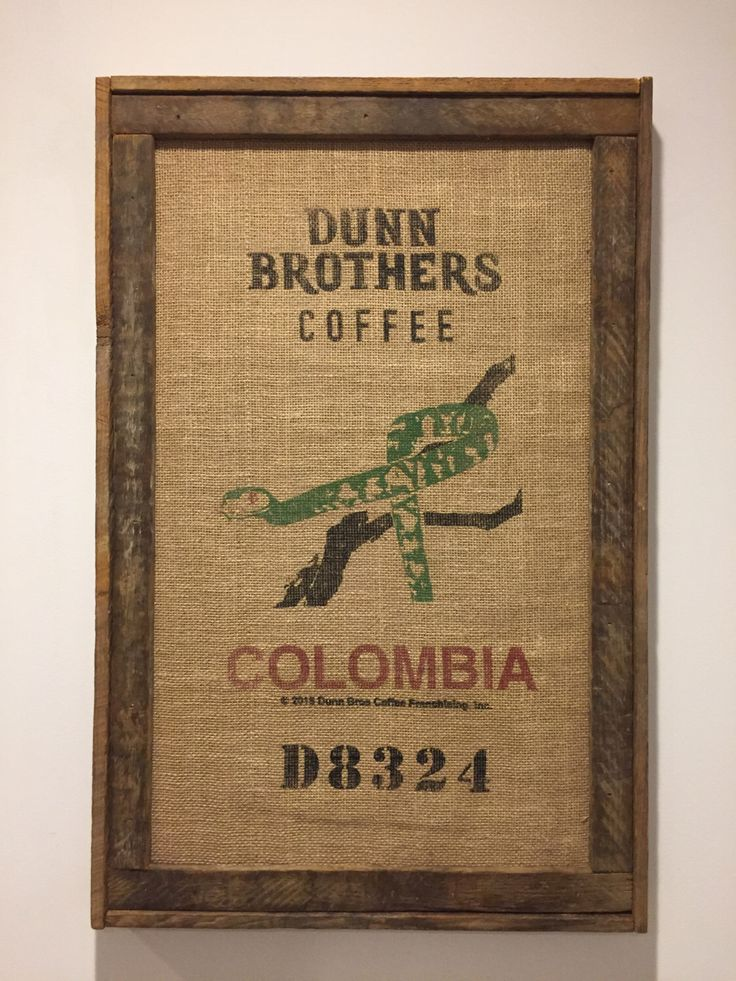 A personal favorite from my Etsy shop https://www.etsy.com/listing/492586686/framed-burlap-coffee-bag-burlap-coffee
