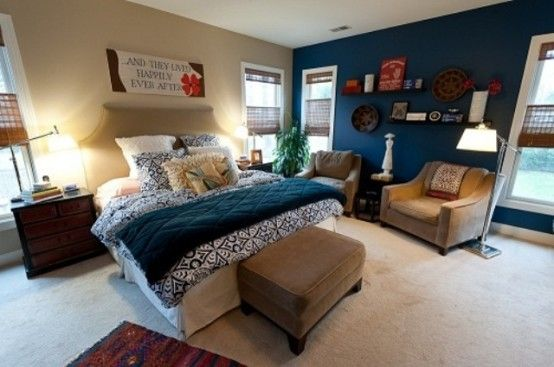 10 Wonderful Teal Bedroom Designs: 10 Wonderful Teal Bedroom Designs With Blue Bed And Brown Ottoman And Chair Design