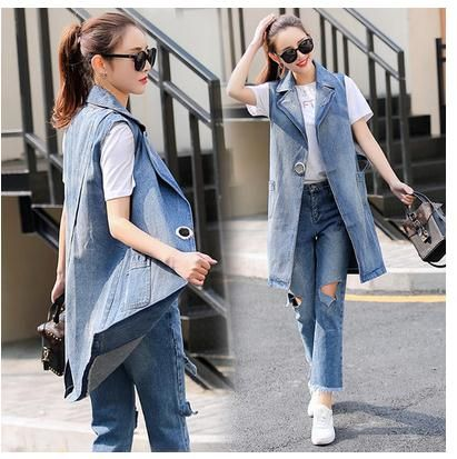 >> Click to Buy << 2017 the spring and autumn period and the han edition sleeveless denim waistcoat joker vest dress long fashion vest in the socie #Affiliate