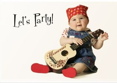 This is a real card (not an e-card) shared from Sendcere. Let's Party invitation Cute baby on front with guitar #invitation #party