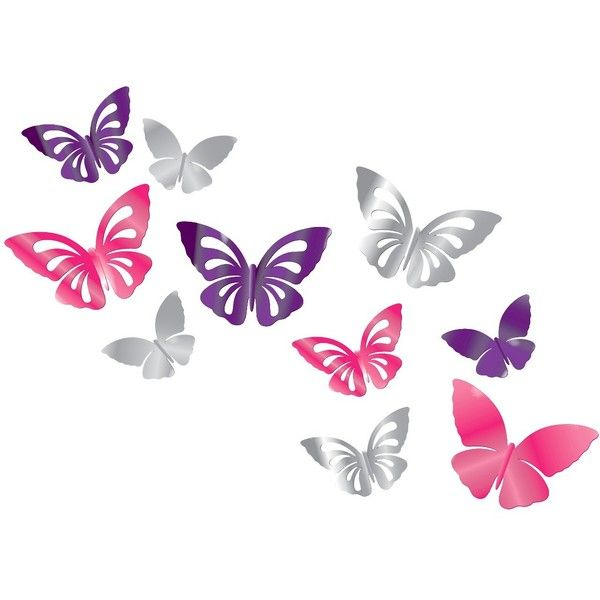 Xhilaration Wall Decor : Xhilaration d butterflies wall decal liked on