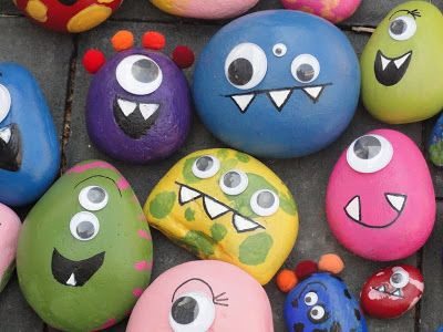 For a fun party craft, guests can paint their own little rock monsters to take home.