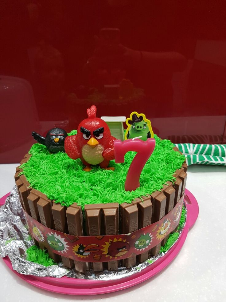 Angry birds kit kat cake for my sons 7th birthday.
