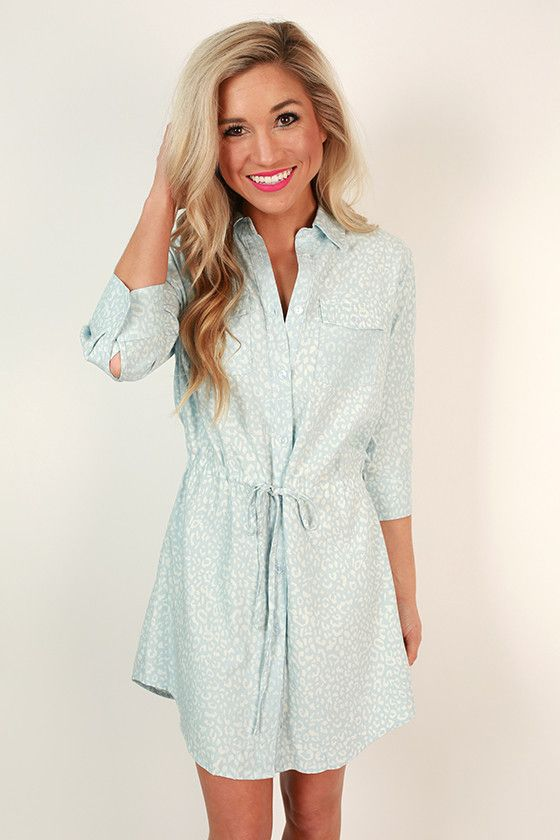 This chambray dress ups its game (and ours) by showing its wild side with cheetah print!