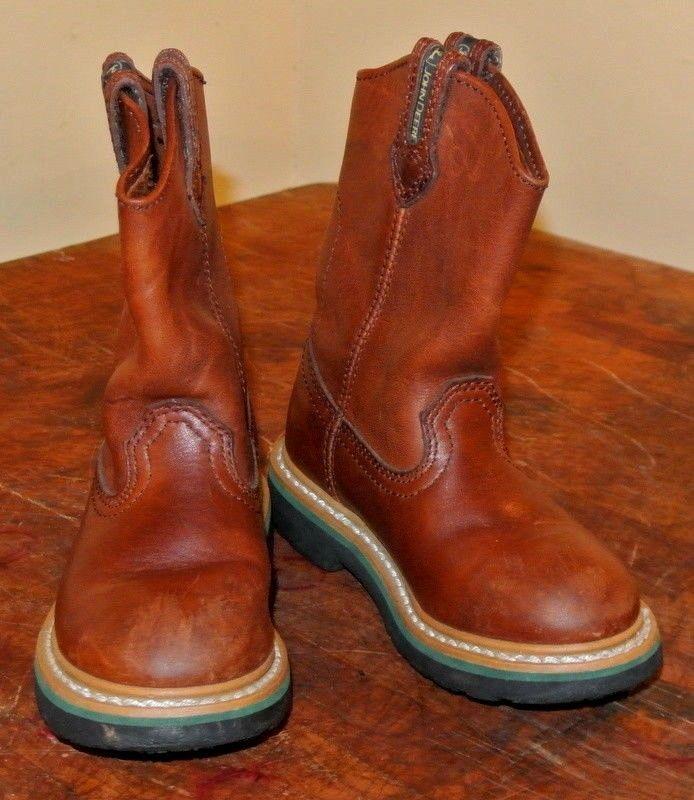 08900424d22 John Deere Carmel Leather Child's Boots Size 10 1/2M Style JD2113 ...