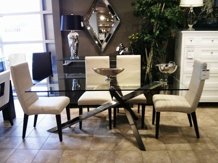 Glass Dining Table SKU A Modern Twist On Top Featuring Deep Espresso Chrome Base The Upper Room Home Furnishings