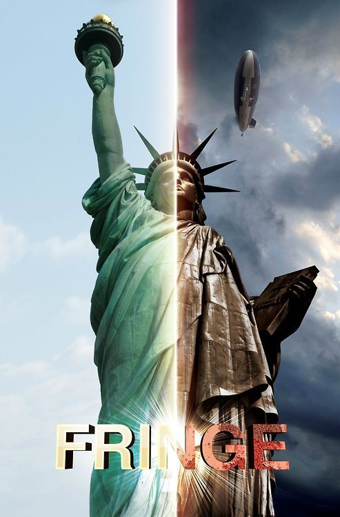 The Statue of Liberty shown as it appears in our universe and the alternate universe.