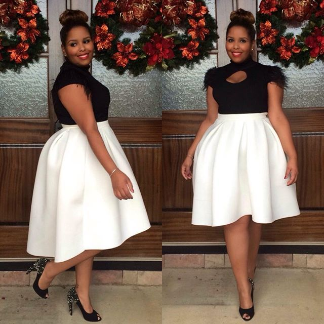 winter white high-low skirt and feather sleeve sweater from Ashley Stewart. #holidayparty
