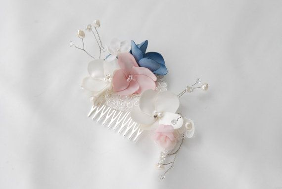 Ivory,pink quartz and french blue bridal hair comb;floral bridal…