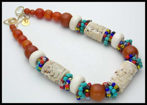 MELILLA  Handcarved Coral  Amber Resin  by sandrawebsterjewelry, $220.00