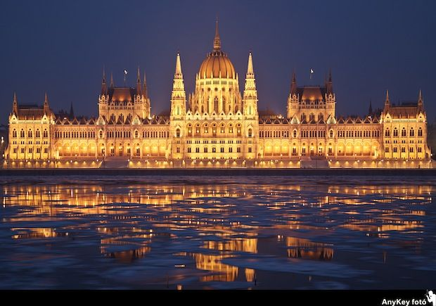 The Parliament Building on the Pest bank of the Danube.