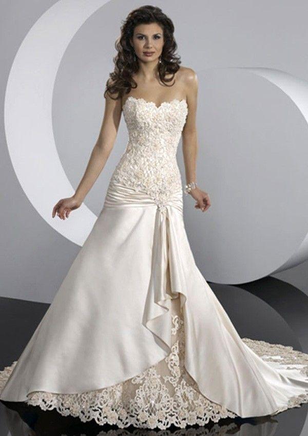 Strapless Mermaid/Trumpet Chapel Train Ivory Satin Wedding Dress ...