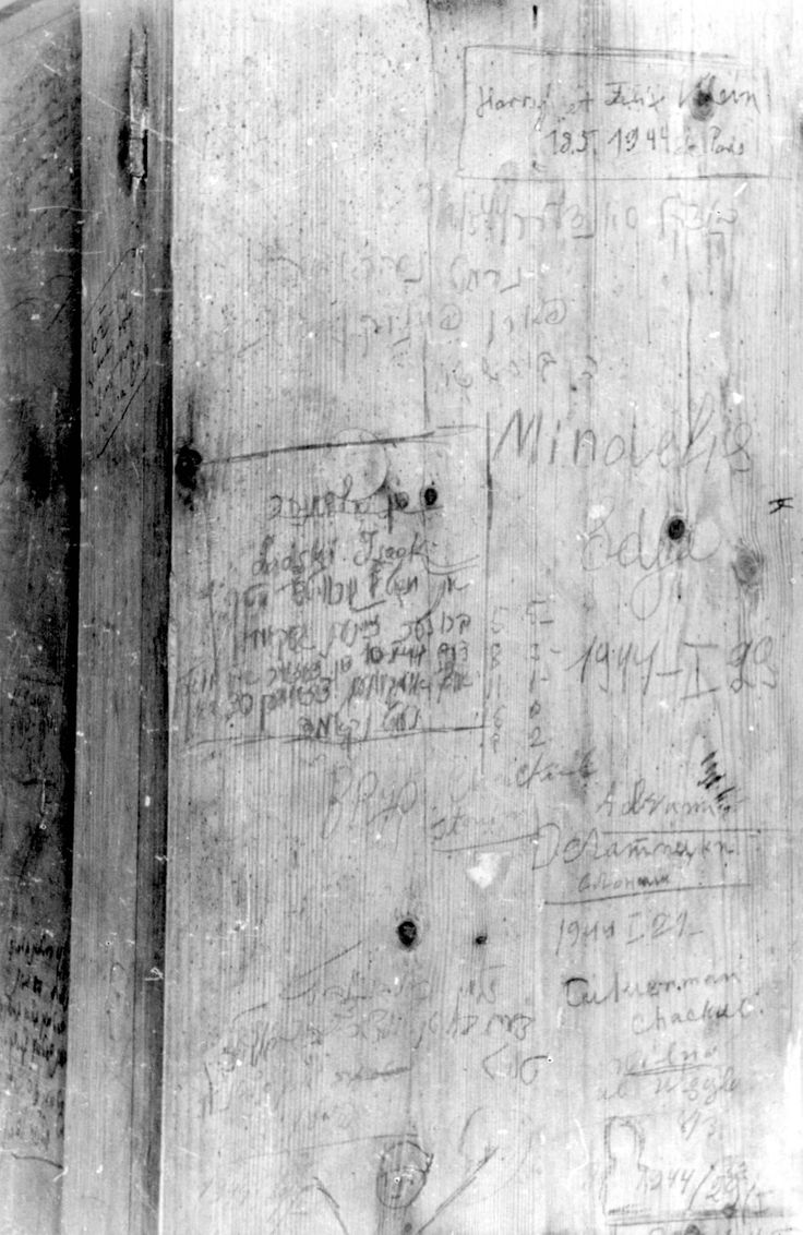 Kovno, Lithuania, Messages written by Jewish prisoners on a wall inside the Ninth Fort, shortly before their execution, 1944.