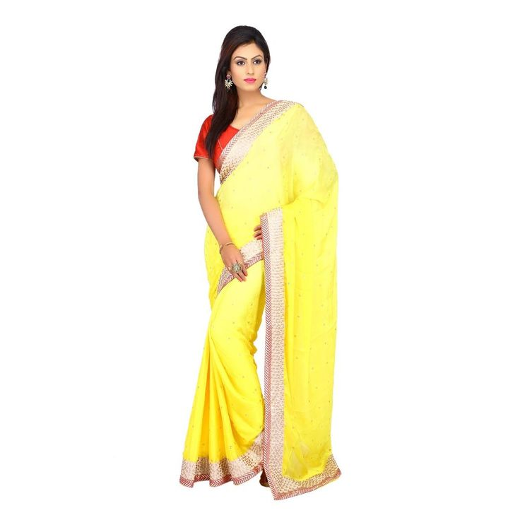 Exclusive Designer Wedding Yellow Chiffon Jacquard Shaded Women Sari with Blouse #Milonee #NewDesignerSaree