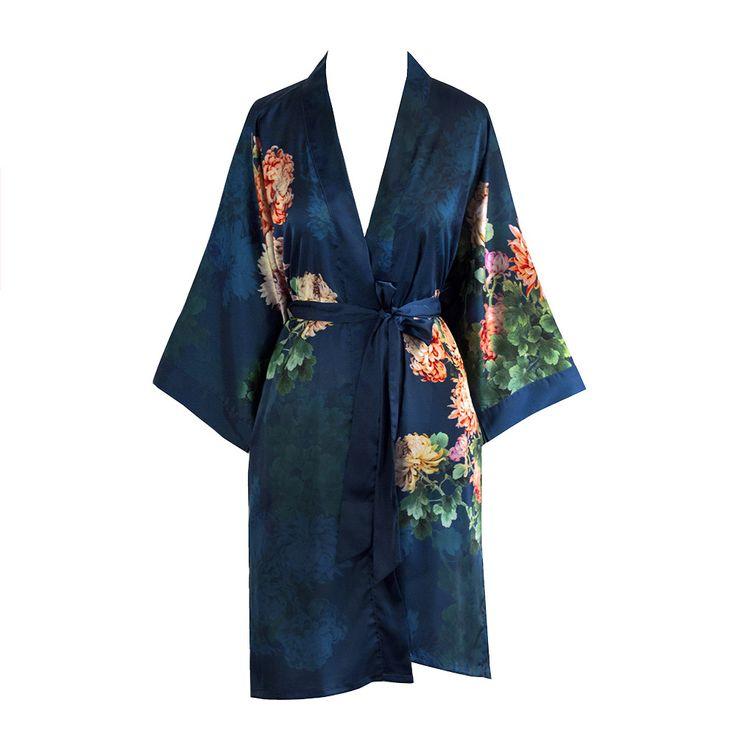 Print Kimono Short Robe - Coral Chrysanthemum