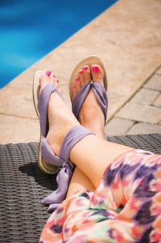 Switchable Sandal with Chiffon Straps, Pink and Purple