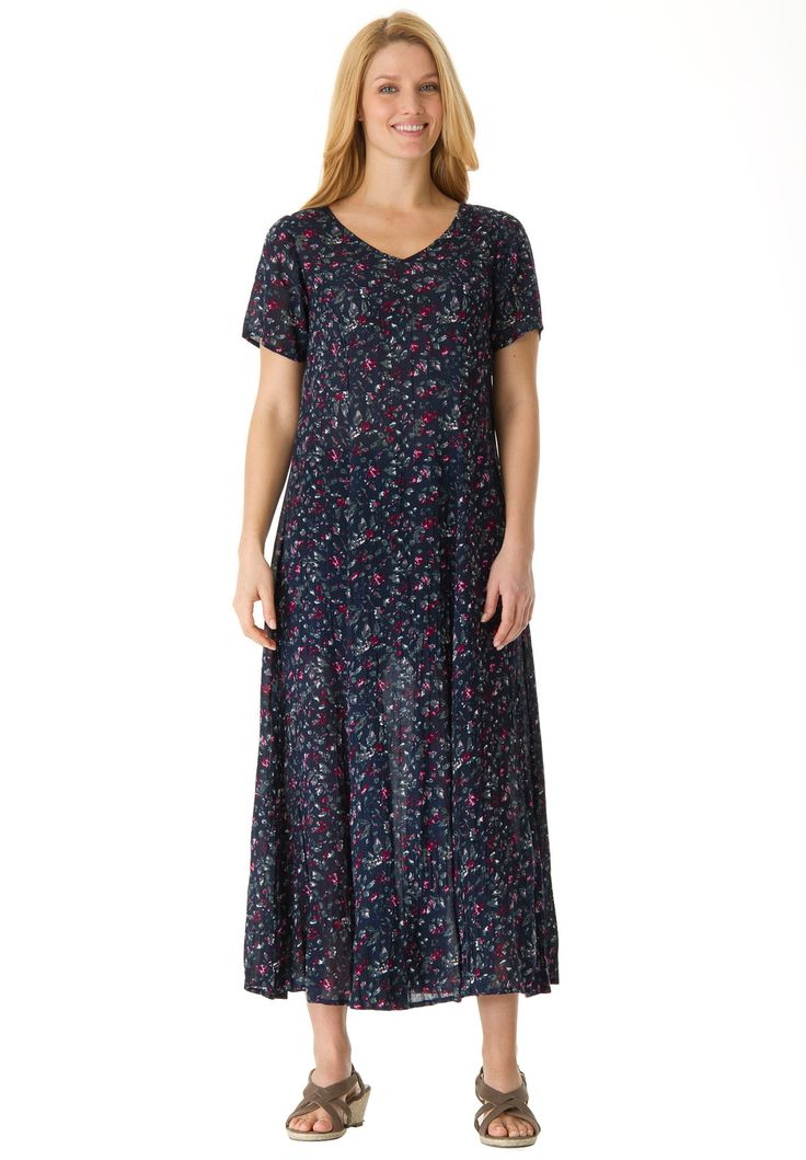 Petite dress in maxi length floral print, crinkle fabric | Plus Size Casual Dresses | Woman Within