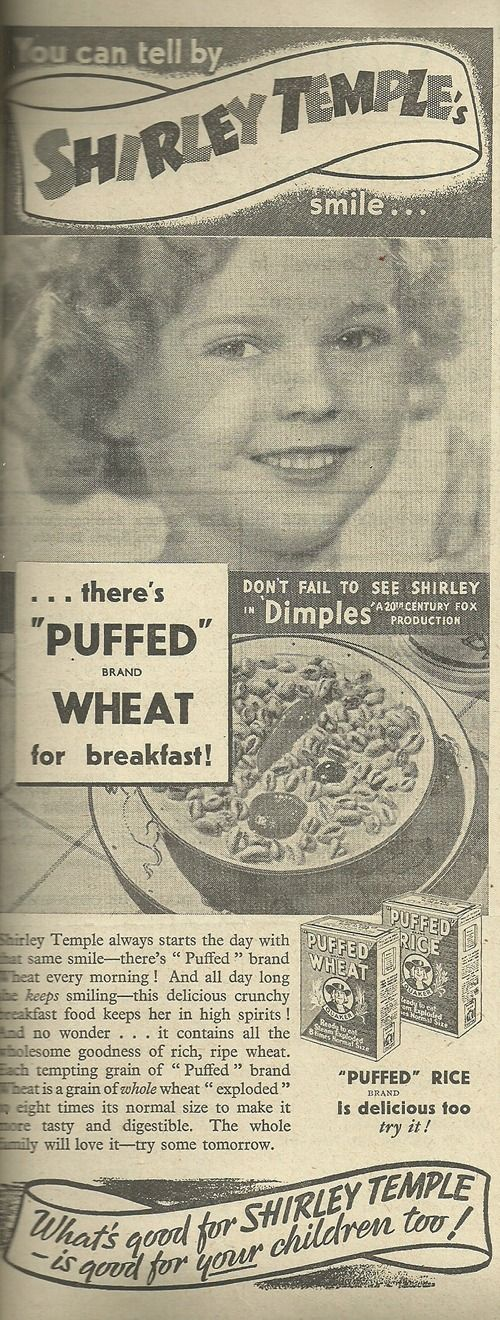Shirley Temple advertising Quaker cereals, 1937