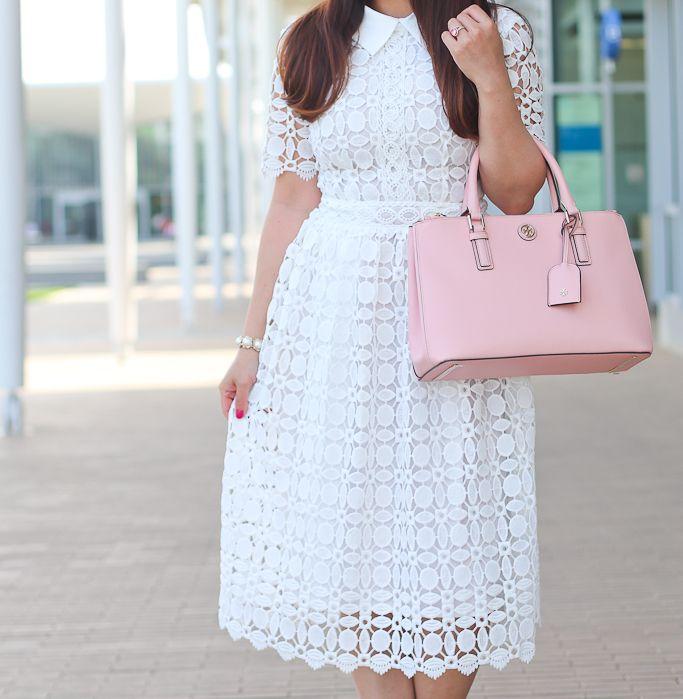 White crochet dress, pink follies pumps, pink Tory Burch ...