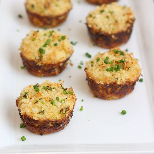 I might take one of the crab cake recipes i already have, but use the muffin (or mini muffin) tins.