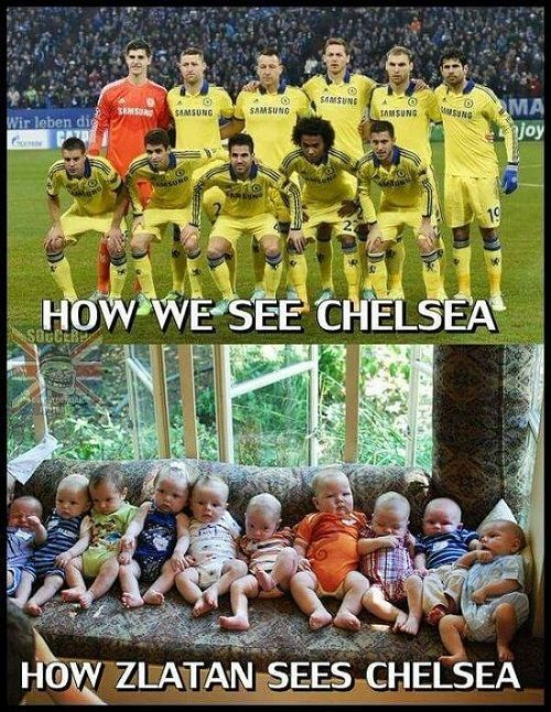 Zlatan Ibrahimovic widzi piłkarzy Chelsea Londyn jako małe dzieci • Jak my a jak piłkarz PSG widzi Chelsea • Wejdź i zobacz mem >>