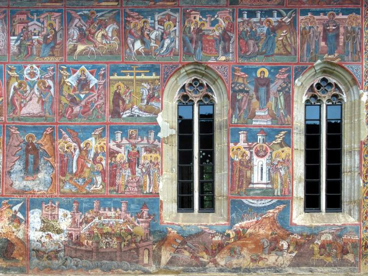 A fresco (1537) of the defence of Constantinople against Persians dressed as Turks in 626 appears on the south wall of Moldovita Monastery in Bukovina, Romania.