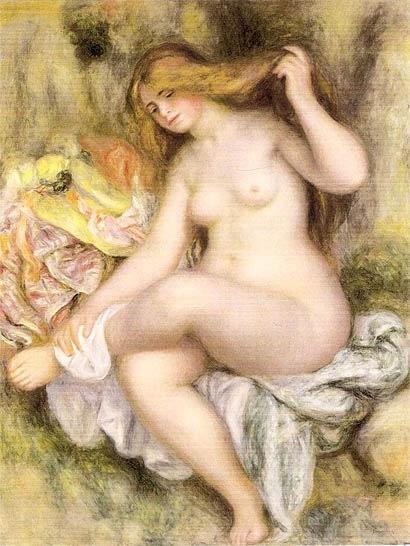 Una ragaza dopo avere fatto il bagno di Pierre Auguste Renoir