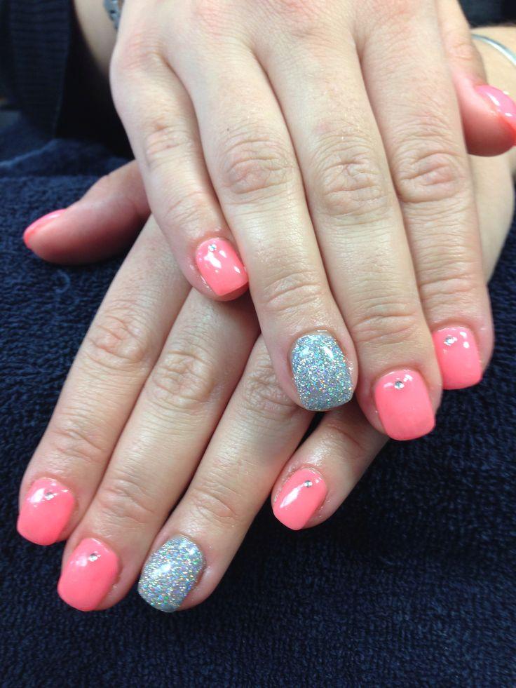 Kaitlin's nails. Sparkling coral gel nail art.