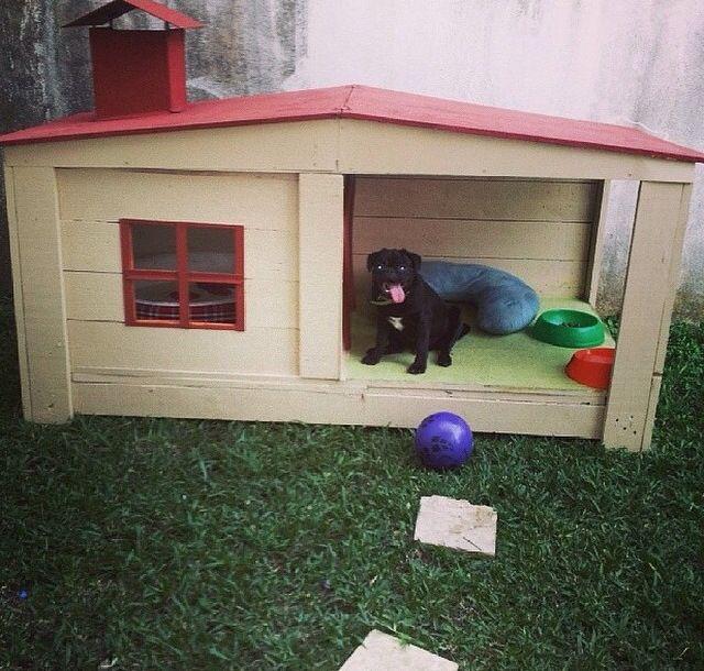 La casa de mi perro que hice con maderas de Palets y me quedo wow !