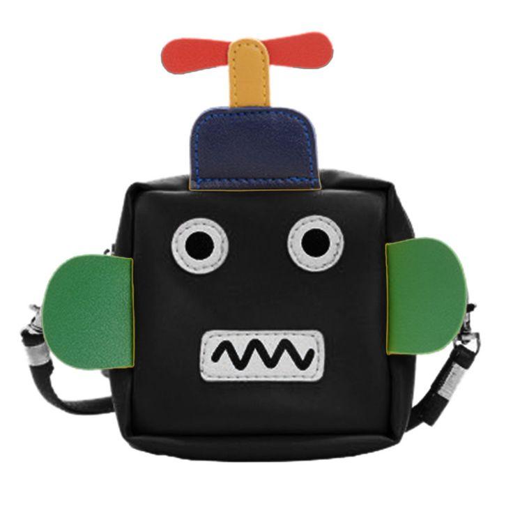 Bolso de hombro de robot de dibujos animados lindo para niños Bolsos de mensajero de cuero artificial Bolsos cruzados de verano para mujer Bolsos con asa superior femenina