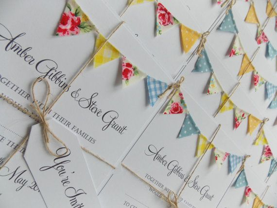 Bunting Wedding Invitation. 'Vintage Spring' by FromLeoniWithLove
