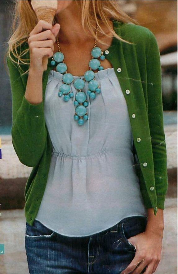 Statement necklace: Cardigans, Colors Combos, Statement Necklaces, J Crew, Outfit, Jcrew, Bubbles Necklaces, Green Cardigan, Chunky Necklaces