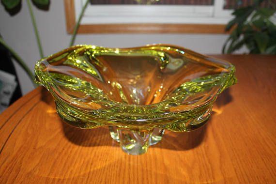 Large Vintage Art Glass Centerpiece Bowl  Mid Century Modern