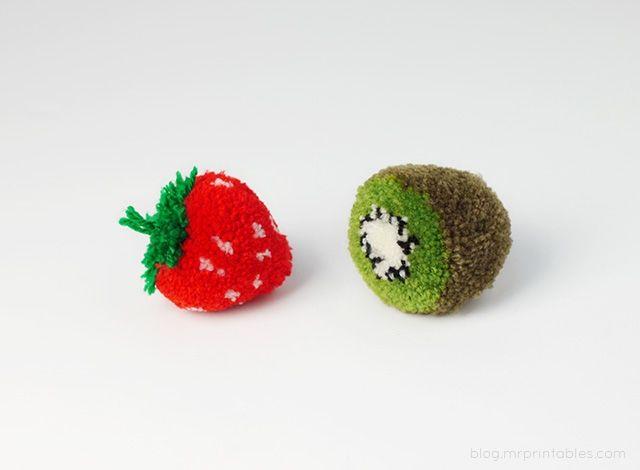 pompons kiwi fraise