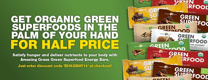 Half Price for Amazing Grass green superfood energy bars - limited time only.