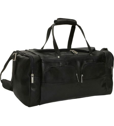 """This sporty duffel is perfect for weekend getaways or afternoons at the gym. The large main compartment has a convenient U-shaped top zipper. Two front gusset pockets with U-shaped zippers are great for storing personal items or business gear. End pockets keep dirty clothes away from clean clothes or can hold your toiletry kit. Removable, adjustable shoulder strap. Top handles have a comfortable leather wrap. Material:Highest Grade Vaquetta Leather Size:19"""" x 9.5"""" x 10"""" Linea..."""