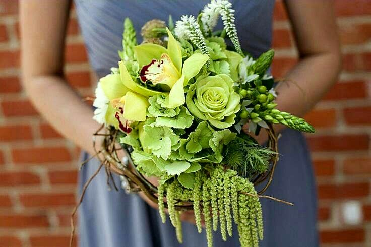 Unique Bridesmaid's Bouquet: Green Hydrangea, Green Roses, Green Cymbidium Orchids, Star Of Bethlehem, Green Thistle, Green Amaranthus, White Veronica, White Florals, Scabiosa Pods & Vines/Branches××××