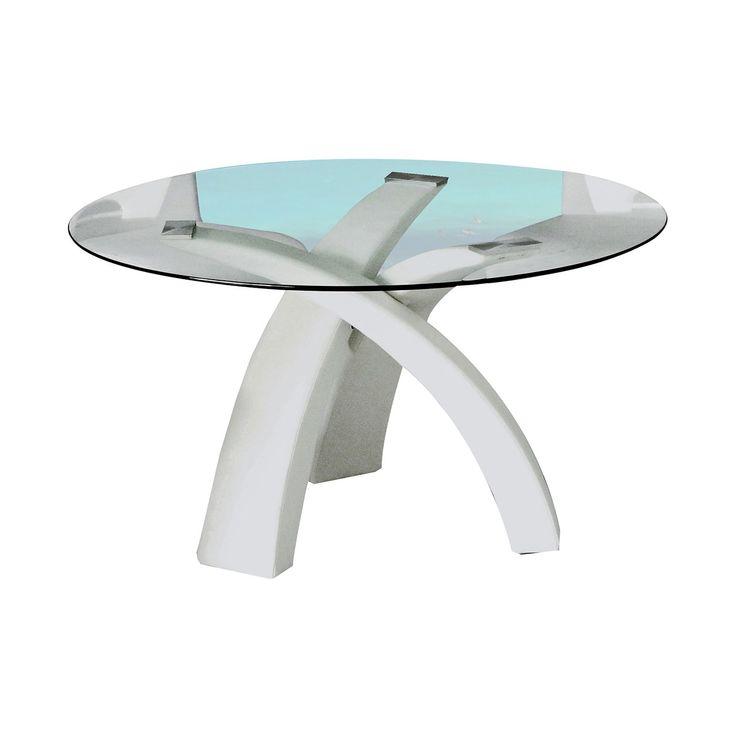 Mesa de comedor redonda de cristal tres patas color - Patas para mesas redondas ...