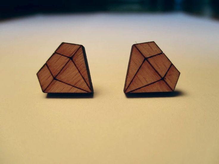 Diamond Stud Wooden Earrings | Trade Me