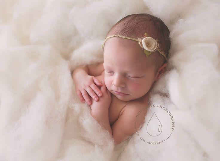 Rustic wool fluff snow newborn photo