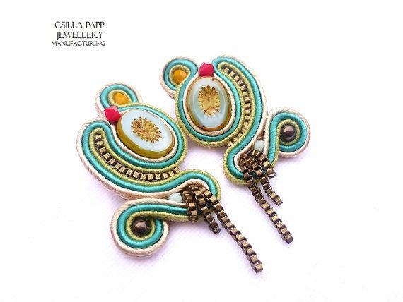 OOAK Hand Embroidered Soutache Earrings by CsillaPappJewellery