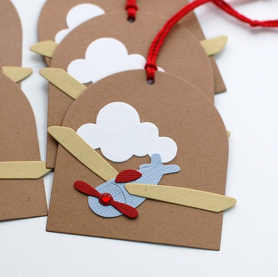 Airplane Tags for Baby Showers Gifts Loot by Paperheartscardco, $6.50
