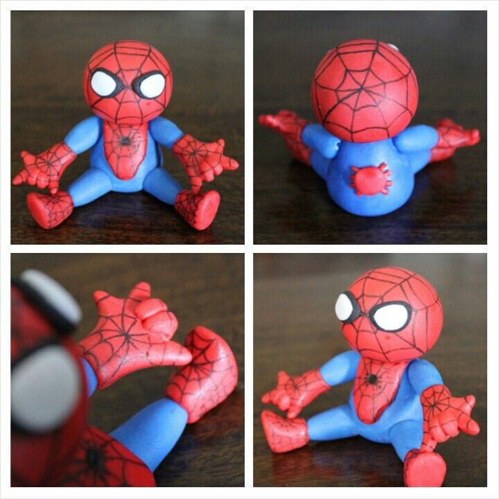 Spiderman cake topper made with homemade marshmallow fondant