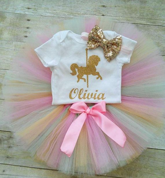 Gold Glitter Carousel First Birthday Tutu Outfit, Cake Smash Outfit, Pink, Pink…