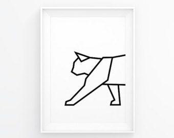 Geometrische dier Panda kunst Panda Print Panda Decal door MgdDesign