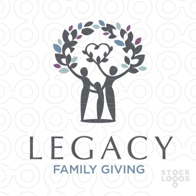 Legacy Family Volunteers | StockLogos.com A a wreath of laurel leaves covers a united family and heart with leaves. keyideas: human, form, figures, people, person, family, vegetation, growth, dots, heads, arms, outstretched,heart, love, believe,