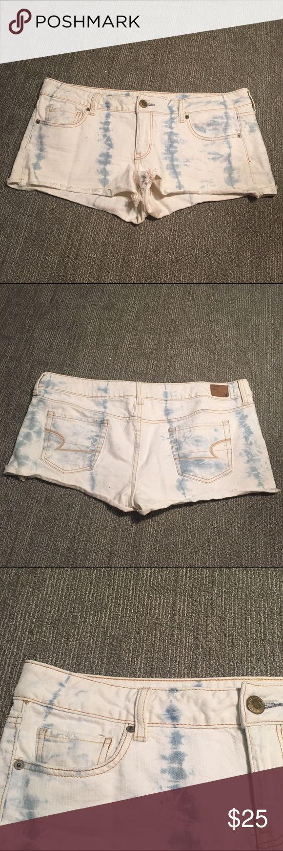 American Eagle Tie Dye Cutoff Jean Shorts American Eagle Tie Dye Cutoff Jean Shorts. Size 14. Wore them under 10 times. Love them but they don't fit in with my business wardrobe. No stains or rips. American Eagle Outfitters Shorts Jean Shorts