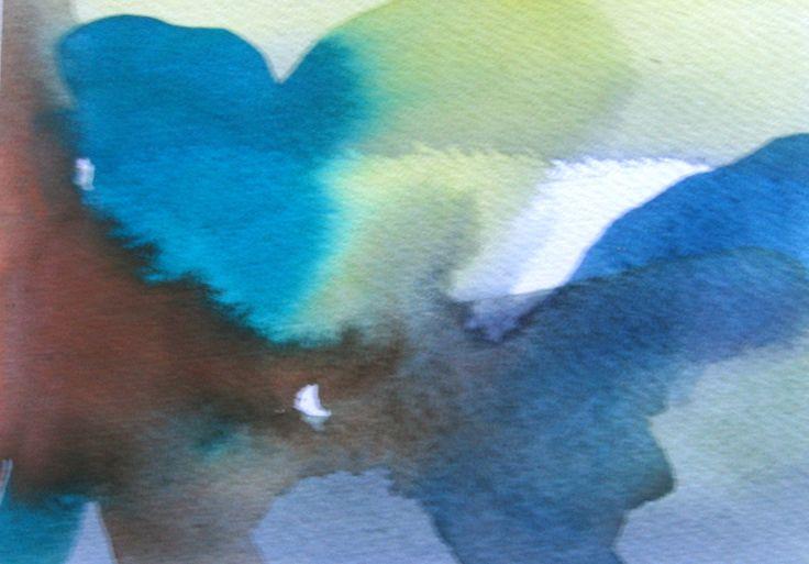 Ok, lidt uskarpt foto, men farven blander sig smukt på papiret. I akvarel er vandet din store hjælper.